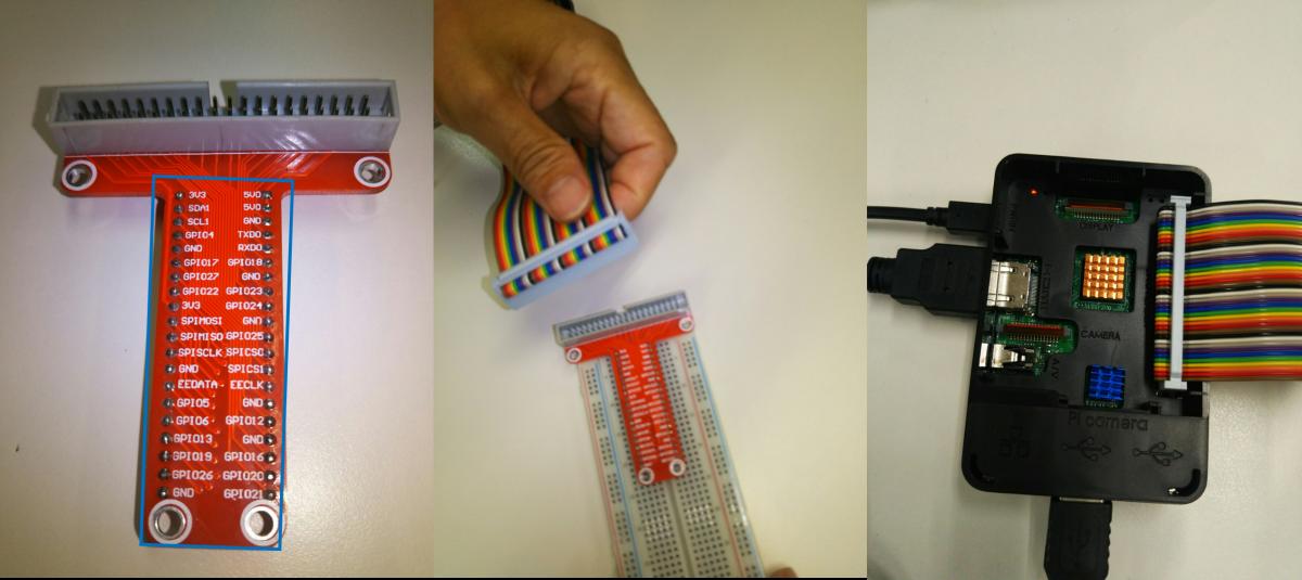 T型GPIO拡張ボード&リボンケーブルをつける