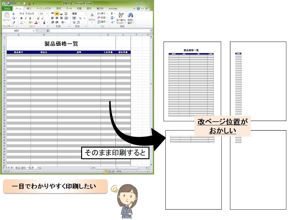 【Excel】用紙に収めて印刷する方法